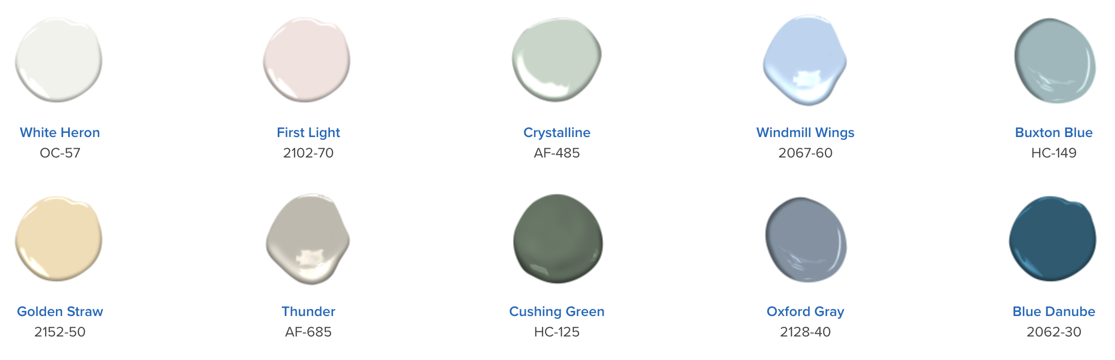 color palette showing a number of colors that go with the new 2020 color of the year