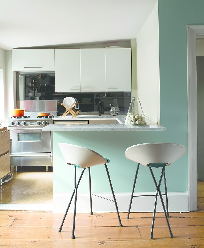 Two modern stools in a small kitchen