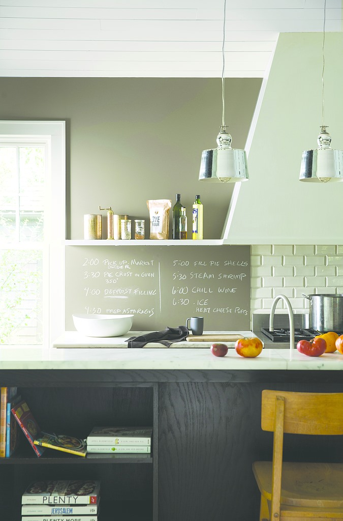 Kitchen with chalkboard wall paint